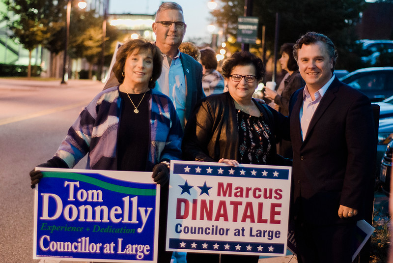 Steve Kerrigan, candidate for the 3rd Congressional District senate seat, campaigns alongside Joanne Donnelly, State Rep. Stephan Hay, and Patricia Vaccamartin ahead of the Fitchburg City Council At-Large debate at Fitchburg State University on Wednesday, 18, 2017. SENTINEL & ENTERPRISE / Ashley Green