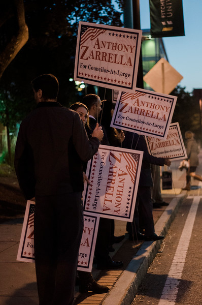 Supporters hold signs for their candidates ahead of the Fitchburg City Council At-Large debate held on Wednesday, October 18, 2017 at Fitchburg State University. SENTINEL & ENTERPRISE / Ashley Green