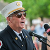 Guest Speaker Clinton Fire Chief John McLaughlin makes his remarks during the 66th Annual Fitchburg  Firefighters Memorial Sunday  in the Upper Common. SENTINEL&ENTERPRISE/ Jim Marabello