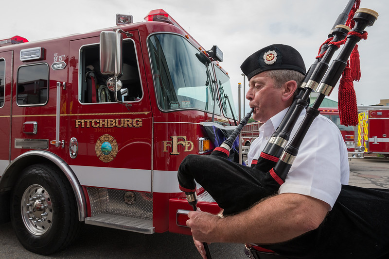 A piper from the Westford Fire Dept Pipes and Drums  warms up at Central Station prior to Fitchburg Firefighters  Memorial Sunday. SENTINEL&ENTERPRISE/ Jim Marabello