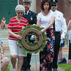 Delores Normandin (front left) and Debbie Jeffries (right), escorted by Fitchburg Deput Chief Gregg Normandin (back left) and Leominster FF James Cameron for the Placing of the Memorial Wreath at the Fitchburg Firefighter's Monument. The Normandins are the family of FFD retiree Joe Normandin who passed away during the year. Jeffries and Cameron are the sister and son in law of FF Jack Mulcahy who also passed away during the year.  SENTINEL&ENTERPRISE/ Jim Marabello