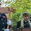 Fitchburg Fire Department Chaplain Fr Michael Clement gives the Invocation at the 66th Annual Fitchburg  Firefighters Memorial Sunday  in the Upper Common. SENTINEL&ENTERPRISE/ Jim Marabello