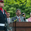 Fitchburg Mayor Steve DiNatale speaks during the 66th Annual Fitchburg  Firefighters Memorial Sunday  in the Upper Common. SENTINEL&ENTERPRISE/ Jim Marabello