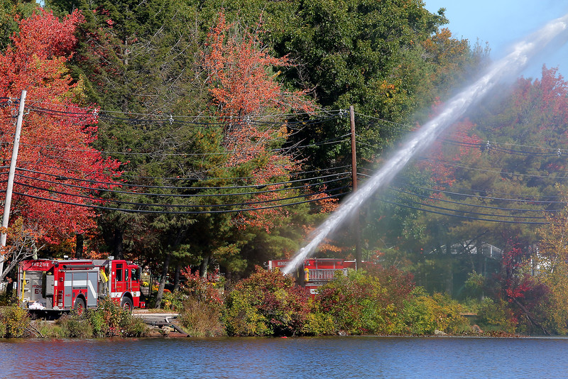 The Fitchburg Fire Department was recertifying one of their trucks at Round Meadow Pond in Westminster on Tuesday afternoon. SENTINEL & ENTERPRISE/JOHN LOVE