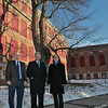 Executive Director of NewVue Communities Marc Dohan, Fitchburg Mayor Stephen DiNatale and Director of Development at Fitchburg Art Museum Rebecca Wright stand in front of the BF Brown the building that is the recipient of one of the two new grants the City got. SENTINEL & ENTERPRISE/JOHN LOVE