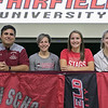 Fitchburg High School soccer player Emerson Scott signed to play at Fairfield University on Wednesday morning. Scott, in red shirt, took a picture with, from left, FHS's Athedic Director Craig Antocci and her coaches Yanina Fusaro and Hannah Capone. SENTINEL & ENTERPRISE/JOHN LOVE