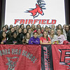 Fitchburg High School soccer player Emerson Scott signed to play at Fairfield University on Wednesday morning. Her soccer team posed with her after she signed. She is in front second from right sitting. SENTINEL & ENTERPRISE/JOHN LOVE