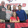 Fitchburg High School soccer player Emerson Scott signed to play at Fairfield University on Wednesday morning. Her dad Jack Scott, mom Annica Scott with her grandparents Mark and Elaine Ambrose take a picture with her after she signed to play at the school. SENTINEL & ENTERPRISE/JOHN LOVE