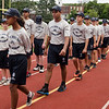 Katianna Danger leads her squad during the Fitchburg Jr. Police Academy on Wednesday morning during their week-long camp at Crocker Field. SENTINEL & ENTERPRISE / Ashley Green