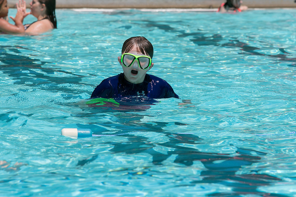 . J. Robert Crowley Swimming Complex at Coolidge Park in Fitchburg is open again for the summer season. Having some fun at the pool on Friday, June 28, 2019 is Christopher Hitchcock, 11, of Fitchburg. SENTINEL & ENTERPRISE/JOHN LOVE