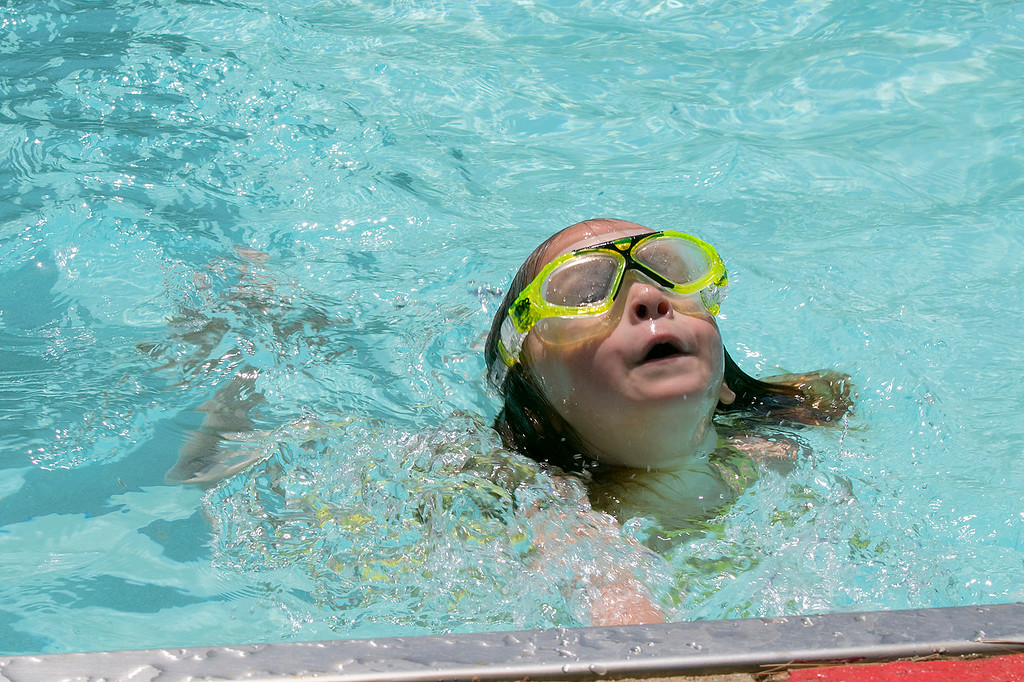 . J. Robert Crowley Swimming Complex at Coolidge Park in Fitchburg is open again for the summer season. Learning to swim is Ariadne Williams, 4, of Fitchburg. SENTINEL & ENTERPRISE/JOHN LOVE
