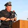 Fitchburg Chief of Police Ernest F. Martineau addresses the crowd during the prayer vigil in support of Dallas, TX on Main Street in Fitchburg on Tuesday night. SENTINEL & ENTERPRISE/JOHN LOVE