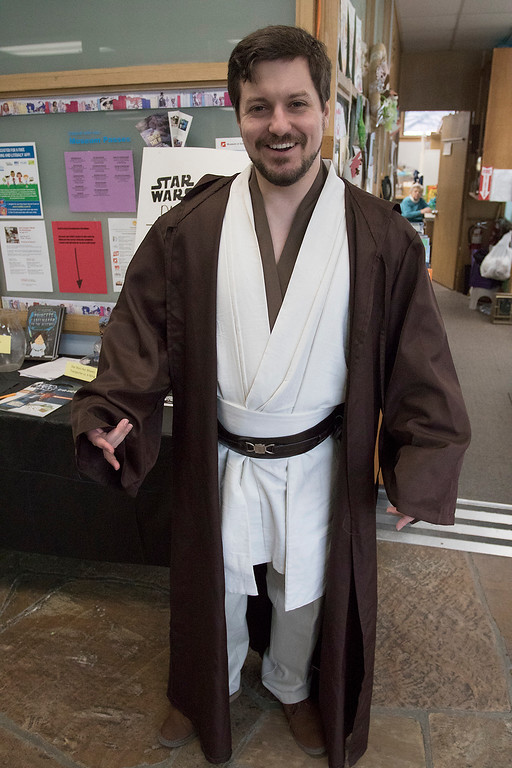 . The Fitchburg Public Library held a Star Wars day on Saturday, May 4, 2019. Fitchburg Teen Librarian Colin Welch dressed like a Jedi for the event. SENTINEL & ENTERPRISE/JOHN LOVE