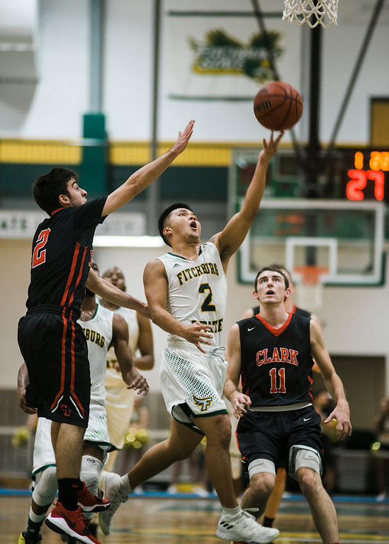 . Fitchburg State\'s Brandon Guerrero in action during the game against Clark on Tuesday, December 5, 2017. SENTINEL & ENTERPRISE / Ashley Green