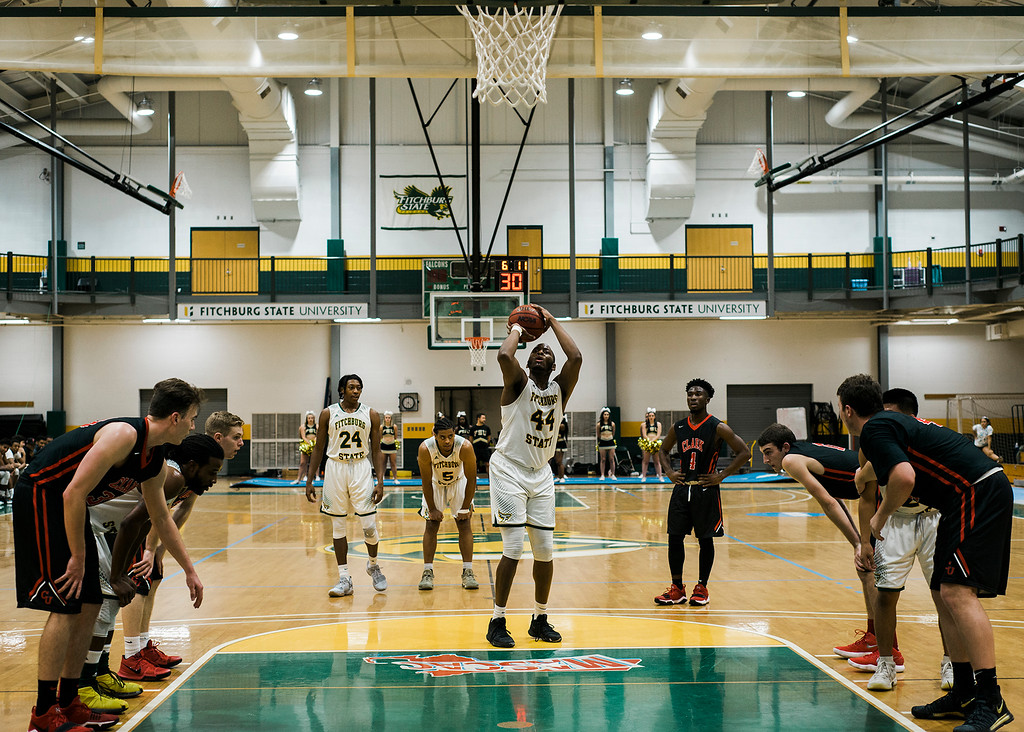 . Fitchburg State\'s Troy DaCosta in action during the game against Clark on Tuesday, December 5, 2017. SENTINEL & ENTERPRISE / Ashley Green