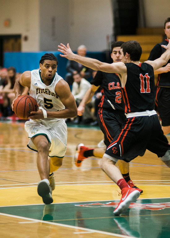 . Fitchburg State\'s Jonathan Perez in action during the game against Clark on Tuesday, December 5, 2017. SENTINEL & ENTERPRISE / Ashley Green