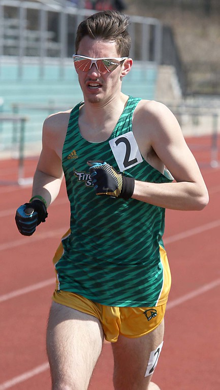 . Track meet at Fitchburg State University on Saturday, April 7, 2018. Running in the 1,500 is FSU junior Joseph Darrigo from Tewksbury. SENTINEL & ENTERPRISE/JOHN LOVE