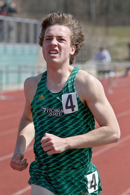 . Track meet at Fitchburg State University on Saturday, April 7, 2018. Running in the 1,500 is FSU freshman Tim Sheehy from Rhode Island. SENTINEL & ENTERPRISE/JOHN LOVE
