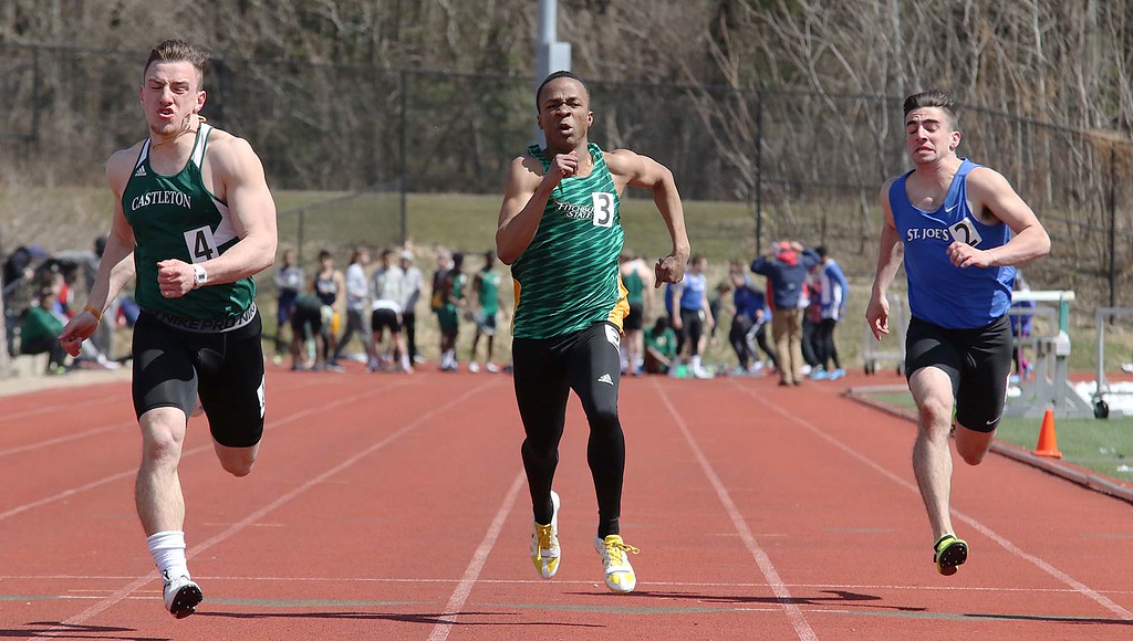 . Track meet at Fitchburg State University on Saturday, April 7, 2018. Running in the 100 meter is FSU sophomore Zachary Joseph from Boston. SENTINEL & ENTERPRISE/JOHN LOVE