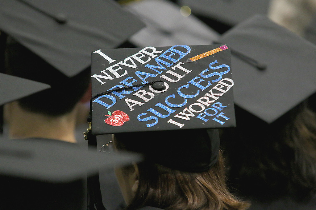 . One of the caps a graduate was wearing at the Fitchburg State University 121 Annual Commencement on Friday December 22, 2017. SENTINEL & ENTERPRISE/JOHN LOVE