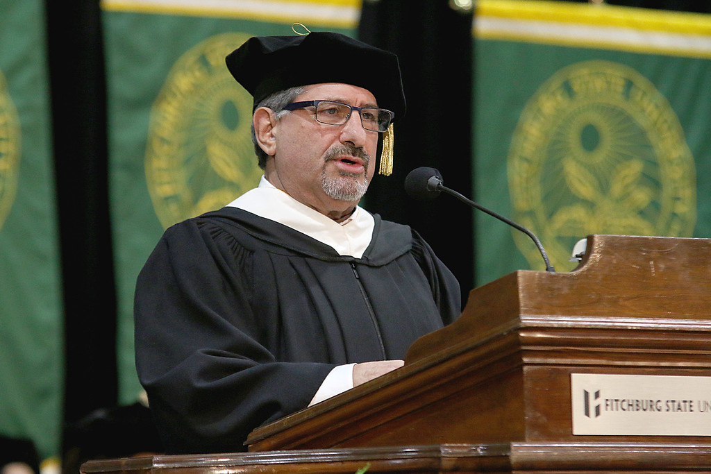 . Fitchburg Mayor Stephen DiNatale addresses the graduates at the Fitchburg State University 121 Annual Commencement on Friday December 22, 2017. SENTINEL & ENTERPRISE/JOHN LOVE