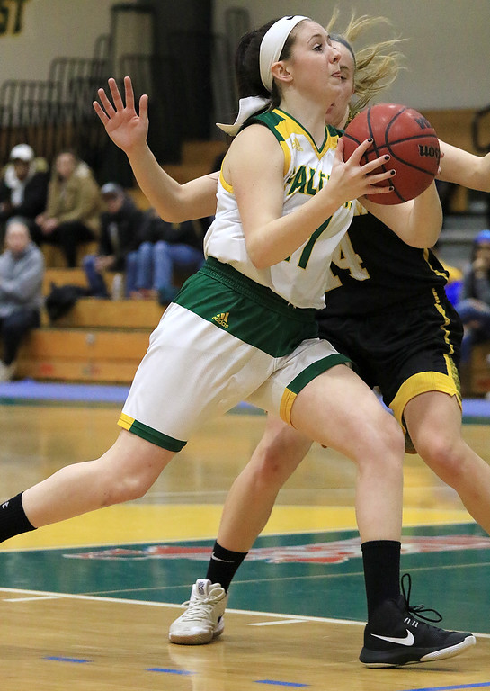 . Fitchburg State University ladies basketball played Framingham State University on Saturday, January 26, 2019 at Fitchburg State\'s Recreation Center. Fitchburg\'s Payton Holmes drives to the basket. SENTINEL & ENTERPRISE/JOHN LOVE
