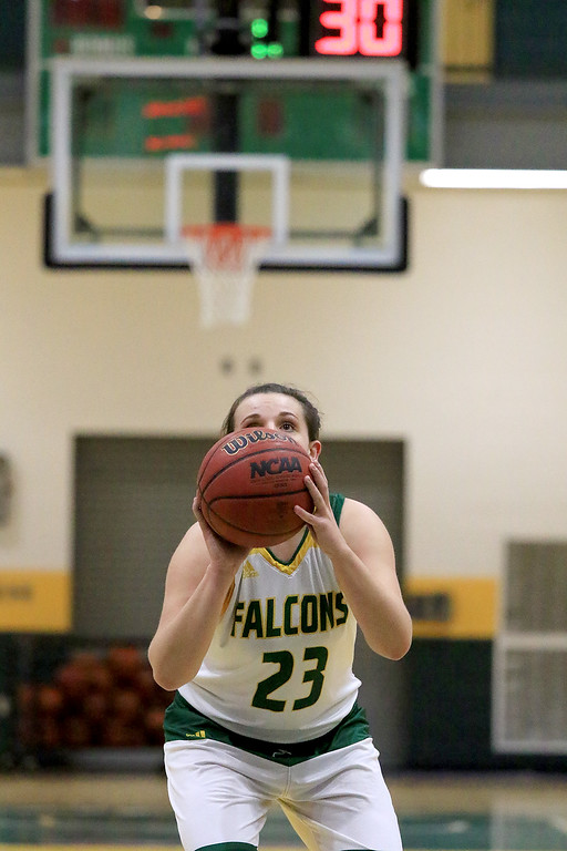 . Fitchburg State University ladies basketball played Framingham State University on Saturday, January 26, 2019 at Fitchburg State\'s Recreation Center. Fitchburg\'s Emma Thomson shots a foul shot during action in the first quarter. SENTINEL & ENTERPRISE/JOHN LOVE