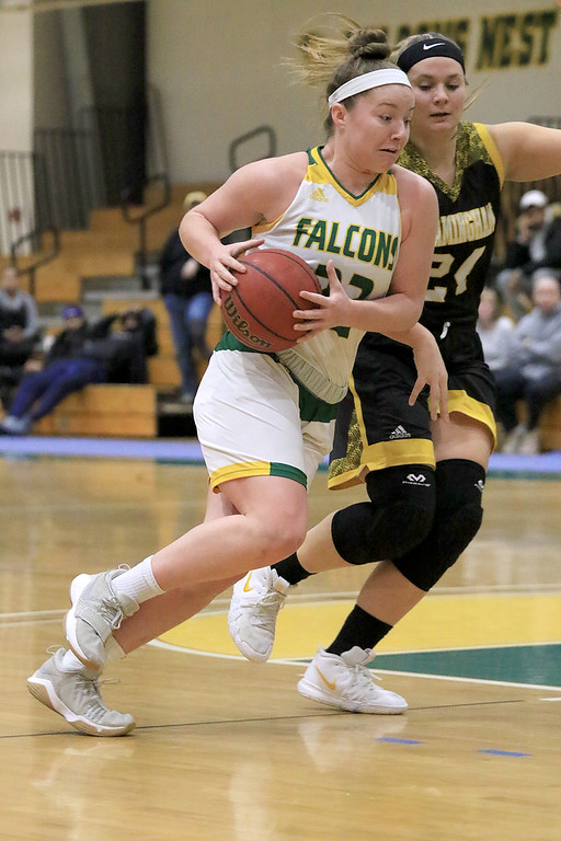 . Fitchburg State University ladies basketball played Framingham State University on Saturday, January 26, 2019 at Fitchburg State\'s Recreation Center. Fitchburg\'s Catherine Coppinger drives to the basket in the first quart. SENTINEL & ENTERPRISE/JOHN LOVE
