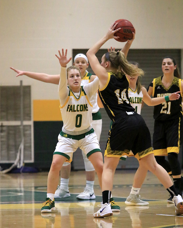 . Fitchburg State University ladies basketball played Framingham State University on Saturday, January 26, 2019 at Fitchburg State\'s Recreation Center. Fitchburg\'s Angelina Marazzi guards Framingham\'s Mary Kate O\'Day during action in the first quarter. SENTINEL & ENTERPRISE/JOHN LOVE
