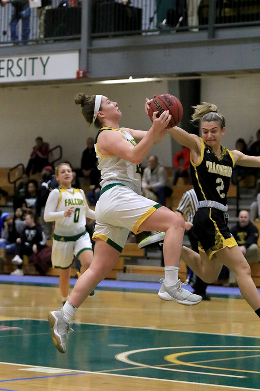 . Fitchburg State University ladies basketball played Framingham State University on Saturday, January 26, 2019 at Fitchburg State\'s Recreation Center. Fitchburg\'sCatherine Coppinger gets stopped by Framingham\'s Liana Cunningham as she drives to the basket. SENTINEL & ENTERPRISE/JOHN LOVE