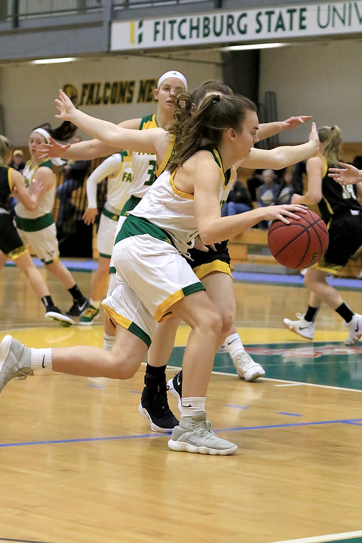 . Fitchburg State University ladies basketball played Framingham State University on Saturday, January 26, 2019 at Fitchburg State\'s Recreation Center. Fitchburg\'s Chole Roberts drives to the basket. SENTINEL & ENTERPRISE/JOHN LOVE