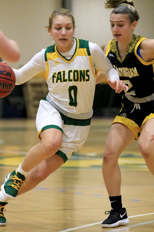 . Fitchburg State University ladies basketball played Framingham State University on Saturday, January 26, 2019 at Fitchburg State\'s Recreation Center. Fitchburg\'s Angelina Marazzi drives to the basket. SENTINEL & ENTERPRISE/JOHN LOVE