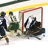Jon Johannesson rushes the net but Ryan Slatsky gets the save