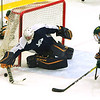 Ryan Slatsky of SNHU makes a stick save of FSU's Nicholas White