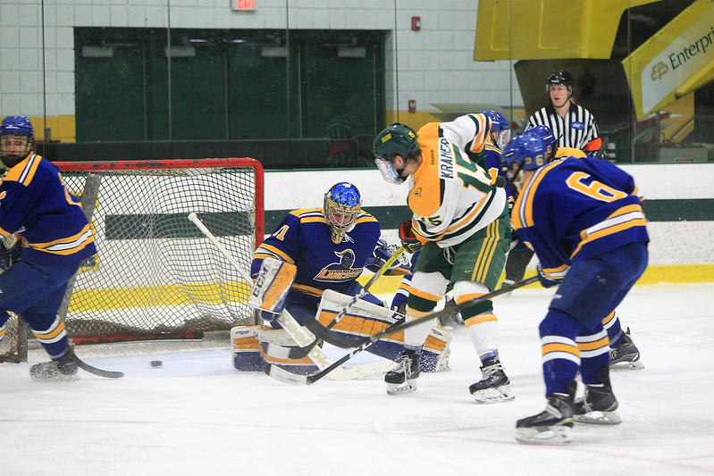 Fitchburg State's Ricky Kramer opens the scoring with a first-period goal during a 5-2 win over Worcester State in the MASCAC Tournament quarterfinals at the Wallace Civic Center in Fitchburg on Saturday, Feb. 25, 2017. SENTINEL & ENTERPRISE / SCOTT LAPRADE