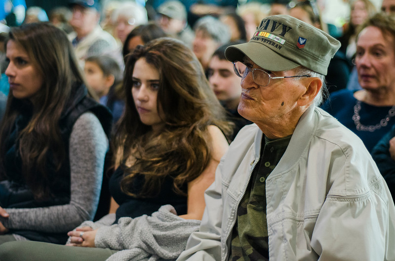 Nay Veteran Howard Rivers listens in during Fitchburg's Veterans Day ceremony on Friday morning at the Senior Center. SENTINEL & ENTERPRISE / Ashley Green