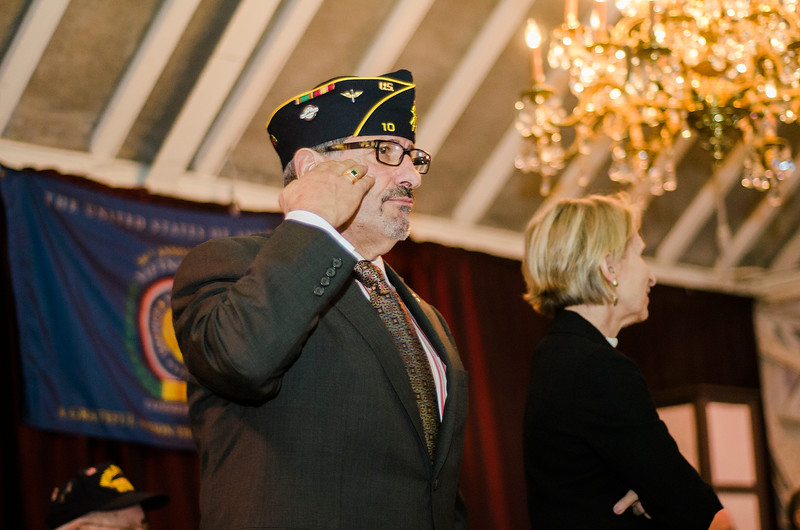 "Navy Veteran and Fitchburg Mayor Stephen DiNatale salutes during the ""Salute to America's Finest"" at Fitchburg's Veterans Day ceremony on Friday morning. SENTINEL & ENTERPRISE / Ashley Green"