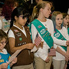 Girl Scouts perform during Fitchburg's Veterans Day ceremony on Friday morning at the Senior Center. SENTINEL & ENTERPRISE / Ashley Green