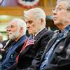 Veterans listen in during Fitchburg's Veterans Day ceremony on Friday morning at the Senior Center. SENTINEL & ENTERPRISE / Ashley Green