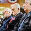 Veterans listen in during Fitchburg's Veterans Day ceremony on Friday morning at the Senior Center. SENTINEL & ENTERPRISE / Ashley Green