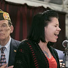 The City of Fitchburg held a Veterans Day ceremony at the Fitchburg Senior Center on Monday, Nov. 11, 2019. Singing the national anthem to start of the ceremony Lindsey Serpas. SENTINEL & ENTERPRISE/JOHN LOVE