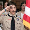 The City of Fitchburg held a Veterans Day ceremony at the Fitchburg Senior Center on Monday, Nov. 11, 2019. Saluting as he said the Pledge of Allegiance is Josh Gauvin of Troop 41 Fitchburg. SENTINEL & ENTERPRISE/JOHN LOVE