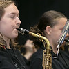 The City of Fitchburg held a Veterans Day ceremony at the Fitchburg Senior Center on Monday, Nov. 11, 2019. Playiing the saxophone with Fitchburg High School band is Carma Young. SENTINEL & ENTERPRISE/JOHN LOVE