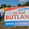 Fitchburg Ward 3 candidates where out campaigning at the polls in front of Memorial Middle School on Tuesday, September 24, 2019. Candidate Alyne Butland waves to motorists as they pass by the polls. SENTINEL & ENTERPRISE/JOHN LOVE