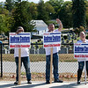 Fitchburg Ward 3 candidates where out campaigning at the polls in front of Memorial Middle School on Tuesday, September 24, 2019. Supporters of Andrew Couture wave to motorists at the polls. SENTINEL & ENTERPRISE/JOHN LOVE
