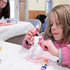 Charlotte Stillman, 6, from Fitchburg makes a 3D paper snowman Saturday, Feb. 1, 2020 at Winterfest held at Coggshall Park in Fitchburg. SENTINEL & ENTERPRISE/JOHN LOVE