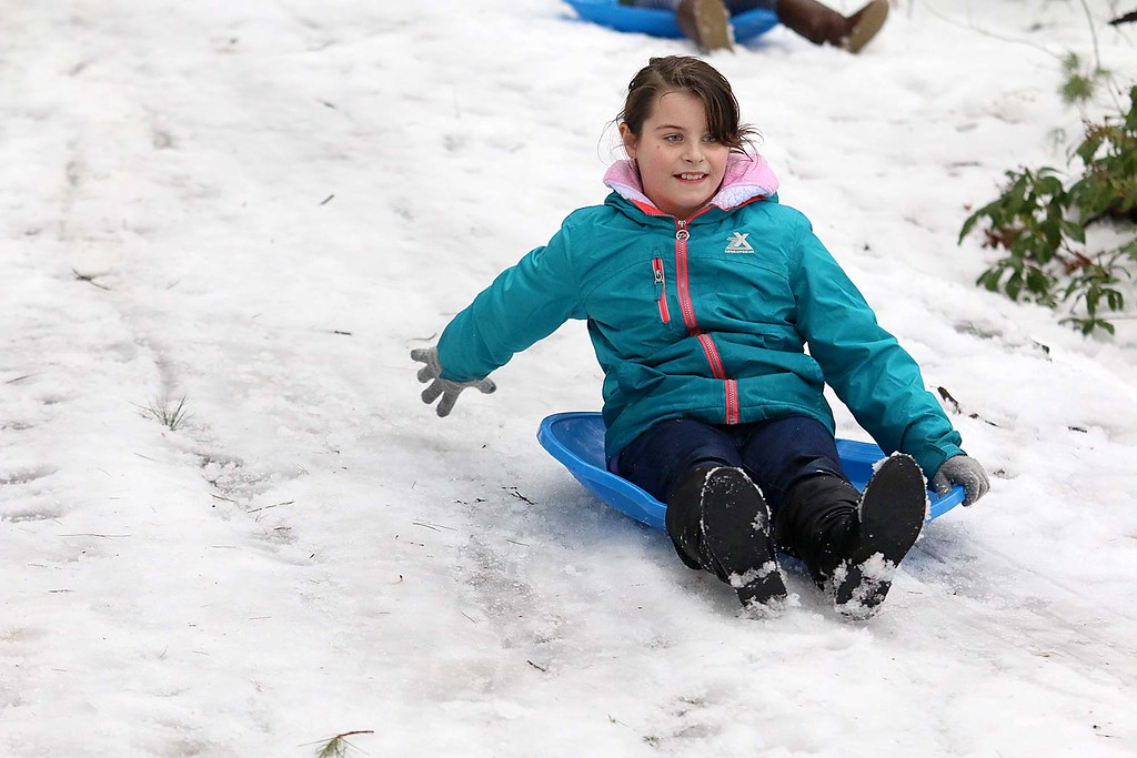 . Sledding at the Fitchburg Winterfest at Coggshall Park is Molly Sacramone, 9, of Fitchburg. SENTINEL & ENTERPRISE/JOHN LOVE