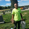 Justin Doucette takes a break from helping clean up veterans' markers at Forest Hill Cemetery in Fitchburg on Sept. 24, 2016.<br /> PHOTO SUBMITTED BY DON SPARKS