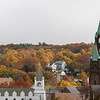 Looking up Rollstone Street to Main Street in Fitchburg with the Faith United Parish on the right you can see the hill in the distance is covered in Fall colors. SENTINEL & ENTERPRISE/JOHN LOVE