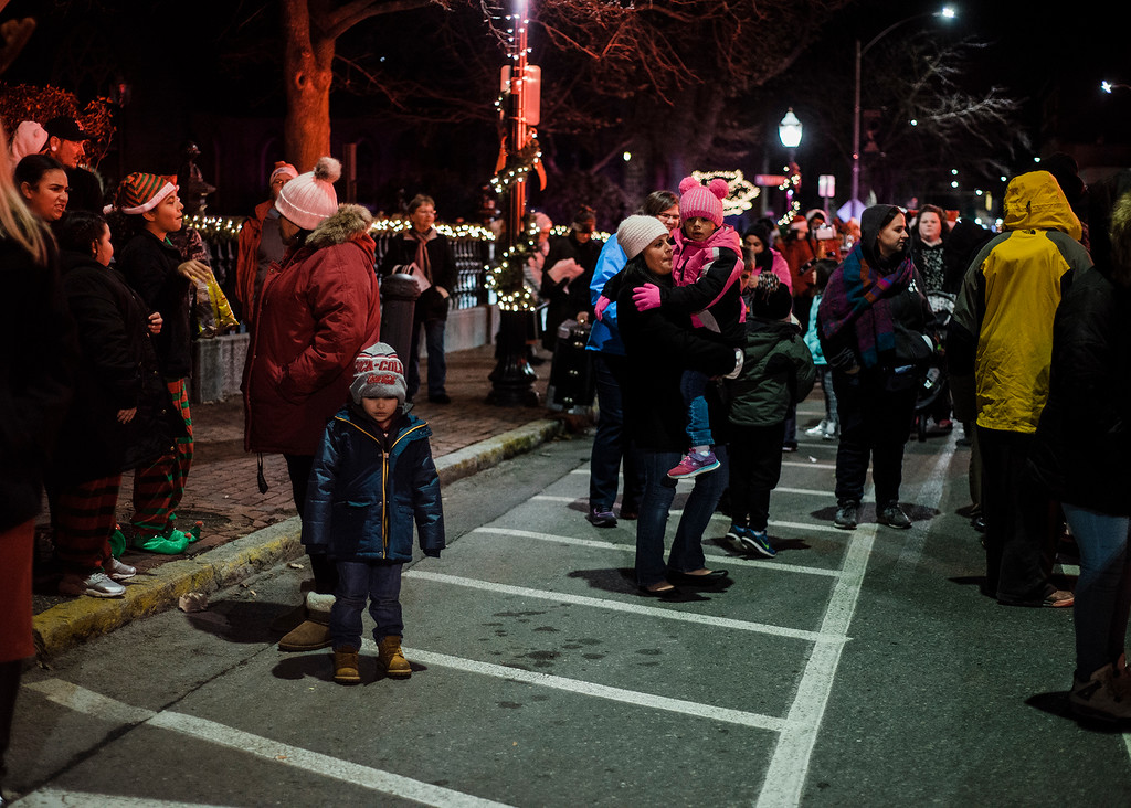 . Families gather at Monument Park in Fitchburg to greet Santa ahead of the annual tree lighting on Saturday, December 2, 2017. SENTINEL & ENTERPRISE / Ashley Green